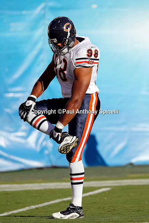 Chicago Bears rookie defensive end Corey Wootten (98) stretches during pregame warmups during a NFL week 1 preseason football game against the San Diego Chargers, Saturday, August 14, 2010 in San Diego, California. The Chargers won the game 25-10. (©Paul Anthony Spinelli)