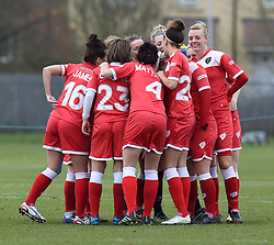 Bristol Academy players huddle before facing Aston Villa Ladies in a pre-season friendly - Photo mandatory by-line: Paul Knight/JMP - Mobile: 07966 386802 - 01/03/2015 - SPORT - Football - Bristol - Stoke Gifford Stadium - Bristol Academy Women v Aston Villa Ladies - Pre-season friendly
