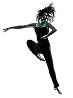one woman dancer dancing in studio silhouette isolated on white background