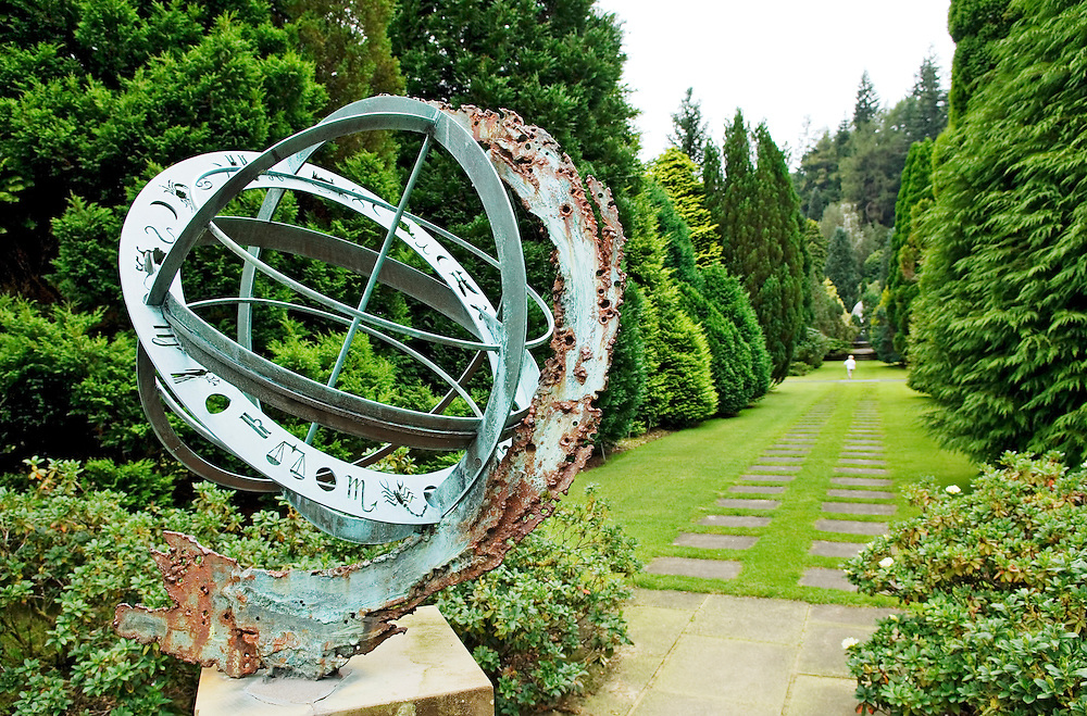 Ornamental astrolabe at Benmore Botanic Garden near Dunoon, Cowal, Scotland, UK. Important East Asian tree and plant collection