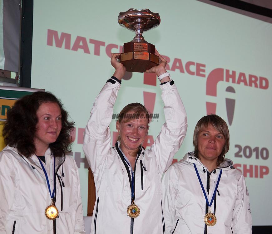 Winners women: RUS, Ekaterina Skudina, Elena Syuzeva, Irina Lotsmanova;<br /> Prizegiving<br /> 2010 EUROSAF European Match Race Championship