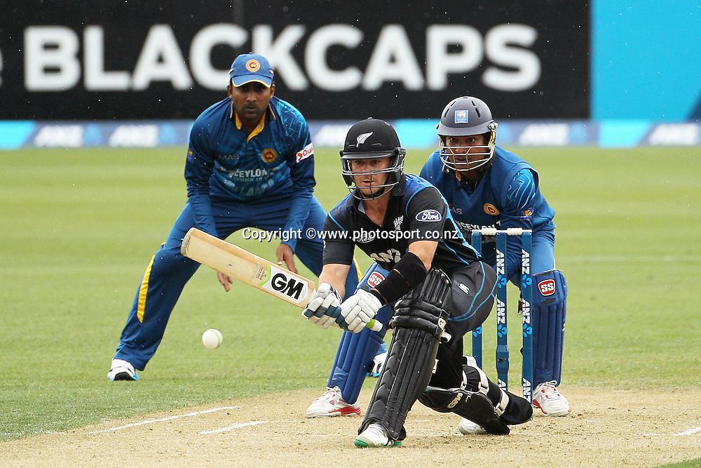 Nathan McCullum of the Black Caps batting during the first ODI cricket game between the Black Caps v Sri Lanka at Hagley Oval, Christchurch. 11 January 2015 Photo: Joseph Johnson / www.photosport.co.nz