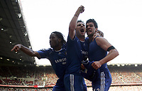 Photo: Paul Thomas.<br /> Blackburn Rovers v Chelsea. The FA Cup, Semi Final. 15/04/2007.<br /> <br /> Didier Drogba (L) and Frank Lampard (C) celebrate with goal scorer Michael Ballack of Chelsea.
