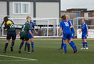 Gemma Collier fires home Farmington's third goal - Forfar Farmington v Edinburgh University Hutchison Vale in SWPL2 at Station Park Forfar - picture by David Young<br /> <br />  - &copy; David Young - www.davidyoungphoto.co.uk - email: davidyoungphoto@gmail.com