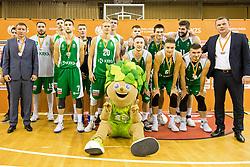 Team KK Krka Novo Mesto after winning supercup basketball match between KK Petrol Olimpija and KK Krka Novo mesto at Superpokal 2017, on September 28, 2017 in Hala Tivoli, Ljubljana, Slovenia. Photo by Matic Klansek Velej / Sportida.com