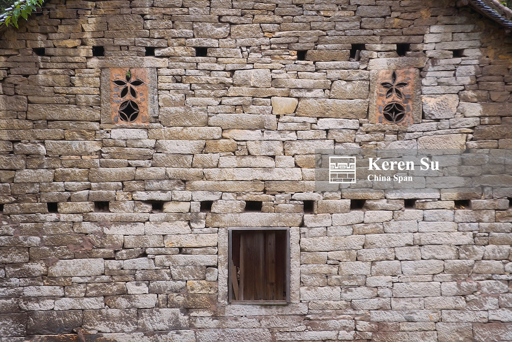 Traditional brick wall, Guizhou, China