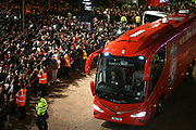 Liverpool fans await the arrival of the team bus before the Champions League Group C match between Liverpool and Napoli at Anfield, Liverpool, England on 11 December 2018.