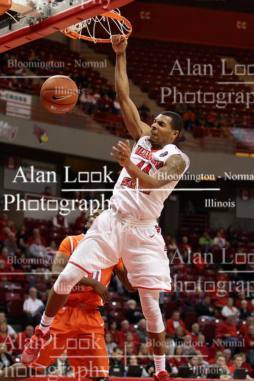 21 November 2015: DeVaughn Akoon-Purcell(44) grabs the rim after a jam. Illinois State Redbirds host the Houston Baptist Huskies at Redbird Arena in Normal Illinois (Photo by Alan Look)