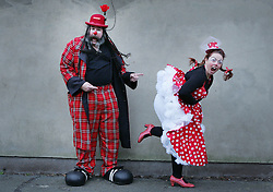 © under license to London News Pictures. 06/02/11 Clowns, Eek and LC Fanackerpants at The annual clown service in memory of Grimaldi at the Holy Trinity Church in Dalston, London in 06/02/11. Photo credit should read: Olivia Harris/ London News Pictures