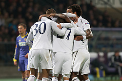 Players of Tottenham celebrating scoring a goal during football match between NK Maribor (SLO) and Tottenham Hotspur FC (UK) in 3rd Round of Group Stage of UEFA Europa league 2013, on October 25, 2012 in Stadium Ljudski vrt, Maribor, Slovenia. (Photo By Gregor Krajncic / Sportida)