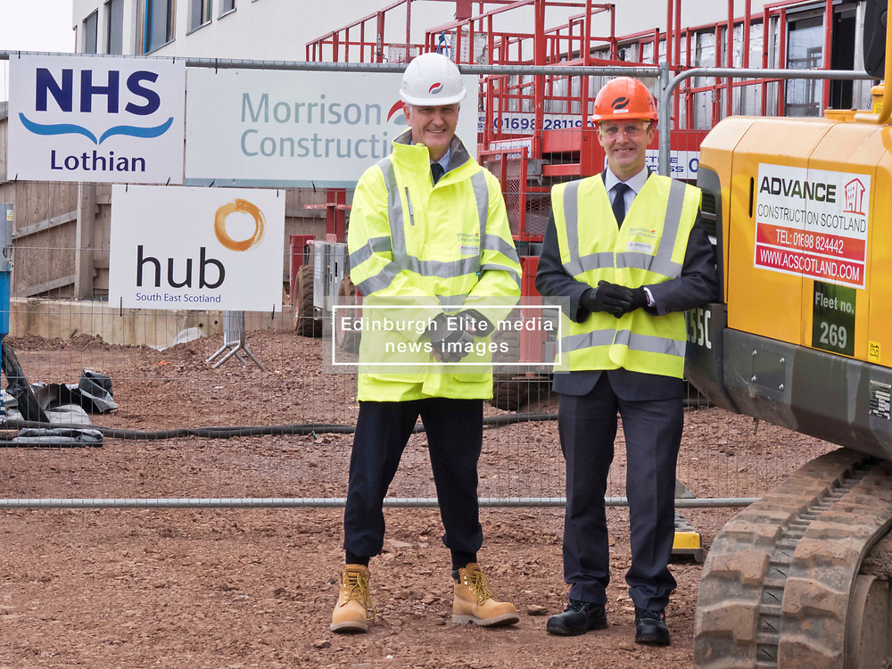 Pictured: Michael Matheson with Morrison Construction's project Director Phil Galbraith<br /> <br /> Infrastructure Secretary Michael Matheson visited East Lothian Community Hospital's construction site today to give an update on the Scottish Government's infrastructure programme, on the same day as an annual progress report is published<br /> <br /> Ger Harley | EEm 17 April 2019