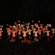 A night shot of twenty-seven wooden angel figures placed in a wooded area beside the road in Sandy Hook after the mass shootings at Sandy Hook Elementary School, Newtown, Connecticut, USA. 16th December 2012. Photo Tim Clayton