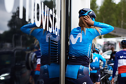 Mavi Garcia (ESP) exits the team camper at Ladies Tour of Norway 2018 Team Time Trial, a 24 km team time trial from Aremark to Halden, Norway on August 16, 2018. Photo by Sean Robinson/velofocus.com