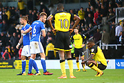 Ipswich Town's Adam Webster and Ipswich Town's Luke Chambers congratulate each other at the final whistle as the Burton Albion players look dejected during the EFL Sky Bet Championship match between Burton Albion and Ipswich Town at the Pirelli Stadium, Burton upon Trent, England on 28 October 2017. Photo by John Potts.