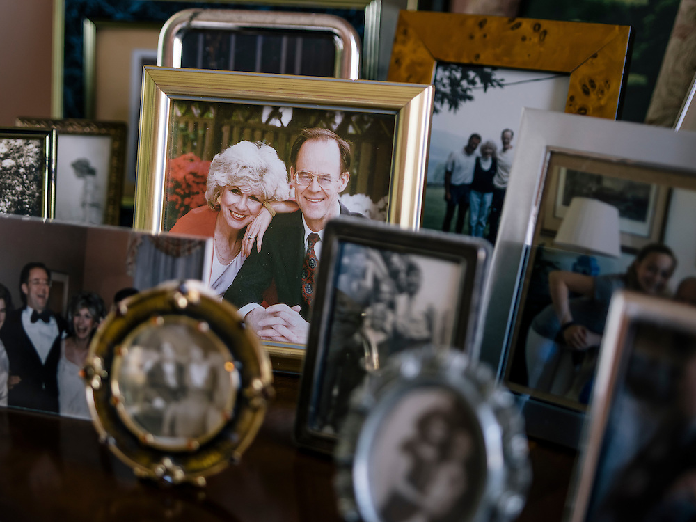 Photos, including her late husband, John Rehm, at the home of Diane Rehm in Washington, D.C.
