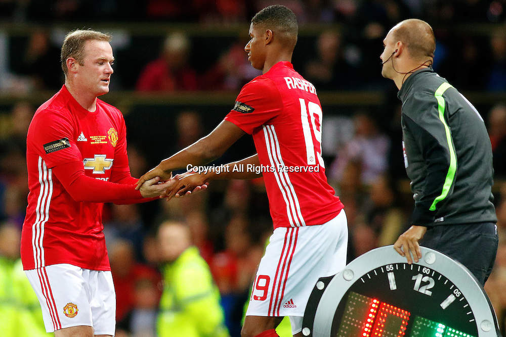 03.08.2016. Old Trafford, Manchester, England. Wayne Rooney Testimonial Football Match. Manchester United versus Everton. Wayne Rooney of Manchester United is replaced by Marcus Rashford of Manchester United
