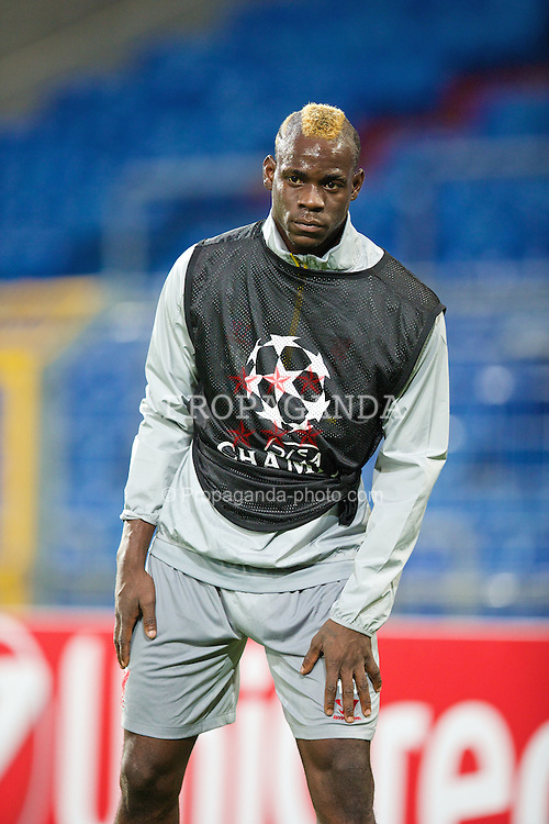 BASEL, SWITZERLAND - Tuesday, September 30, 2014: Liverpool's Mario Balotelli during a training session at the St. Jakob Stadium ahead of the UEFA Champions League Group B match against FC Basel. (Pic by David Rawcliffe/Propaganda)