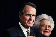 President Herbert Walker Bush and First Lady Barbara Bush in December 1990.<br /> Photo by Dennis Brack