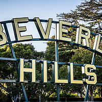 Picture of Beverly Hills sign in  Beverly Gardens Park in Los Angeles County. Beverly Hills is an affluent city in Southern California in the United States.