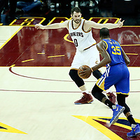 07 June 2017: Cleveland Cavaliers forward Kevin Love (0) defends on Golden State Warriors forward Kevin Durant (35) during the Golden State Warriors 118-113 victory over the Cleveland Cavaliers, in game 3 of the 2017 NBA Finals, at  the Quicken Loans Arena, Cleveland, Ohio, USA.