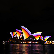 The Sydney Opera House lit up during the 2011 Vivid Festival in Sydney Australia.