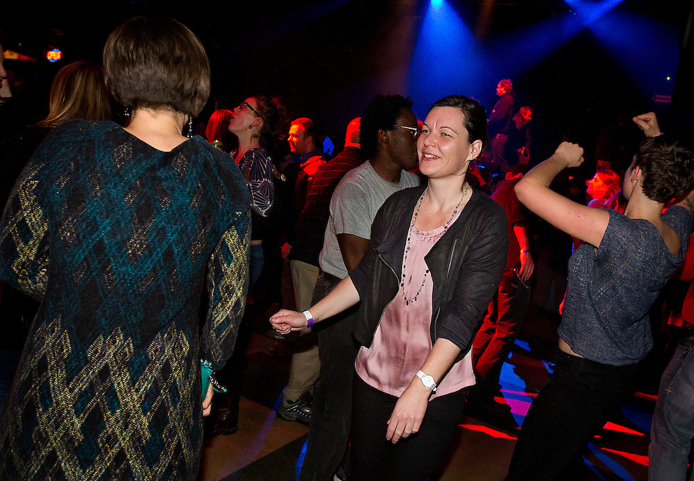 "Henriet Hendriks dances during Minneapolis Mayor R.T. Rybak's ""Unauguration Party"" at First Avenue, Wednesday, December 18, 2013."
