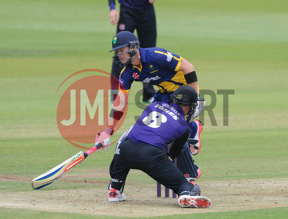 Geraint Jones of Gloucestershire attempts to run out Colin Ingram of Glamorgan - Photo mandatory by-line: Dougie Allward/JMP - Mobile: 07966 386802 - 12/06/2015 - SPORT - Cricket - Bristol - County Ground - Gloucestershire v Glamorgan - Natwest T20 Blast