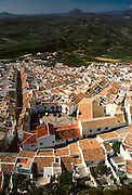 SPAIN, ANDALUSIA OLVERA; a pretty 'pueblo blanco' or white village near Ronda, view of the old town from the castle