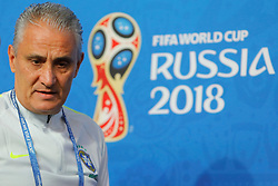 June 21, 2018 - Saint Petersburg, Russia - Brazil national team coach Tite attends a press conference during the FIFA World Cup 2018 on June 21, 2018 at Saint Petersburg Stadium in Saint Petersburg, Russia. (Credit Image: © Mike Kireev/NurPhoto via ZUMA Press)