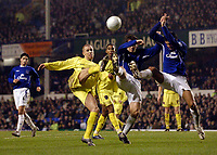 Photo: Jed Wee.<br /> Everton v Millwall. The FA Cup. 18/01/2006.<br /> <br /> Millwall's Alan Dunne (L) is denied space by the Everton defenders.
