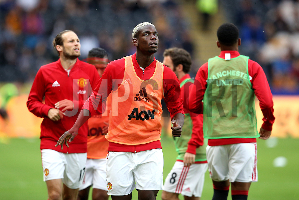 Paul Pogba of Manchester United warms up with his team mates - Mandatory by-line: Matt McNulty/JMP - 27/08/2016 - FOOTBALL - KC Stadium - Hull, England - Hull City v Manchester United - Premier League