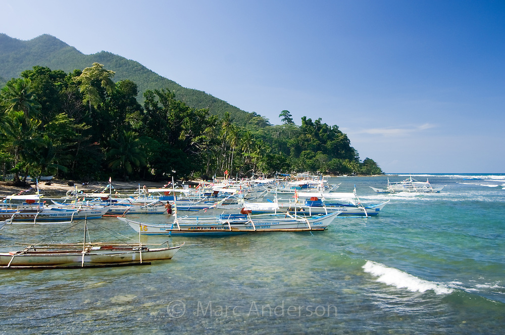 Boats moored in a small bay, Sabang, Palawan, Philippines