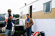 Symond, Gavin and Friend with a Caravan, Dorset, UK, 1980s.