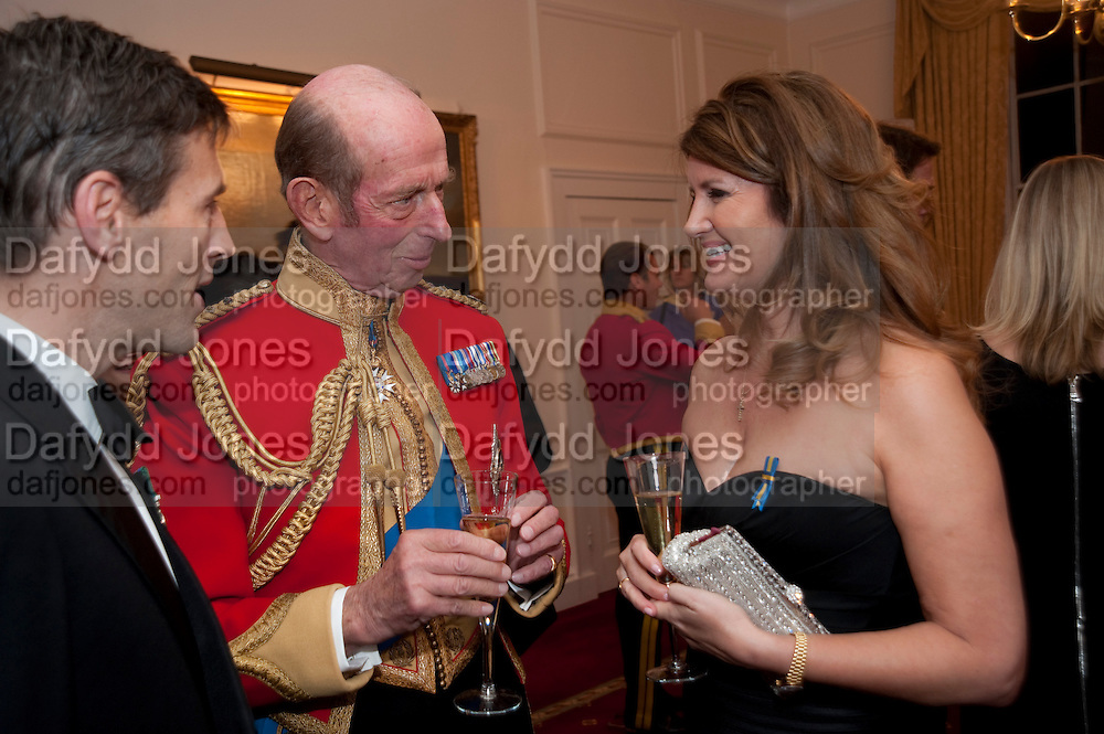 THE DUKE OF KENT; ALEXA JAGO;  Charity Dinner in aid of Caring for Courage The Royal Scots Dragoon Guards Afganistan Welfare Appeal. In the presence of the Duke of Kent. The Royal Hospital, Chaelsea. London. 20 October 2011. <br /> <br />  , -DO NOT ARCHIVE-&copy; Copyright Photograph by Dafydd Jones. 248 Clapham Rd. London SW9 0PZ. Tel 0207 820 0771. www.dafjones.com.