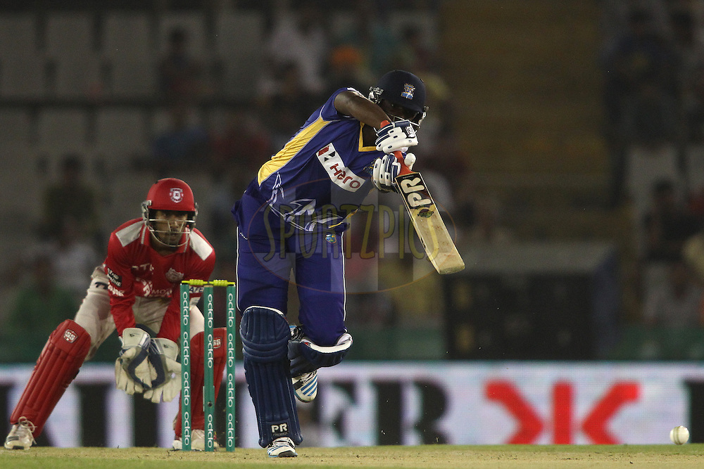 Raymon Reifer of the Barbados Tridents straight drives a delivery during match 5 of the Oppo Champions League Twenty20 between the Kings XI Punjab and the Barbados Tridents held at the Punjab Cricket Association Stadium, Mohali, India on the 20th September 2014<br /> <br /> Photo by:  Shaun Roy / Sportzpics/ CLT20<br /> <br /> <br /> Image use is subject to the terms and conditions as laid out by the BCCI/ CLT20.  The terms and conditions can be downloaded here:<br /> <br /> http://sportzpics.photoshelter.com/gallery/CLT20-Image-Terms-and-Conditions-2014/G0000IfNJn535VPU/C0000QhhKadWcjYs