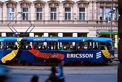 CZECH REPUBLIC BOHEMIA PRAGUE FEB00 - A tram painted with the Ericsson mobile phone manufacturer's logo passes through the centre of Prague. jre/Photo by Jiri Rezac. . © Jiri Rezac 2000. . Tel:   +44 (0) 7050 110 417. Email: info@jirirezac.com. Web:   www.jirirezac.com