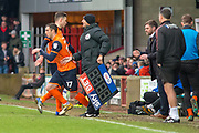 Scunthorpe united player sub Scunthorpe United striker Tom Hopper (14) off for Scunthorpe United striker Lee Novak (17) during the EFL Sky Bet League 1 match between Scunthorpe United and Rotherham United at Glanford Park, Scunthorpe, England on 10 February 2018. Picture by Craig Zadoroznyj.
