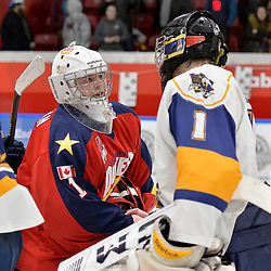 WHITBY, ON  - MAR 14,  2017: Ontario Junior Hockey League, playoff game between the Whitby Fury and Wellington Dukes. Goaltenders Connor Ryckman #1 of the Wellington Dukes and Austin Cain #1 of the Whitby Fury shake hands.<br /> (Photo by Shawn Muir / OJHL Images)