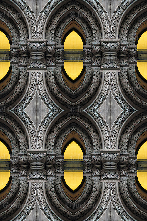 Computer altered abstract of curved arches columns.<br />