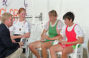 St Catherines, CANADA,  Women's Single Sculls, left Silver Medalist GER W1X. Katrin RUTSCHOW centre Gold medalist BLR W1X Ekaterina KARSTEN and right Bronze Medalist, BUL W1X Rumyana NEYKOVA awards Dock.  1999 World Rowing Championships - Martindale Pond, Ontario. 08.1999..[Mandatory Credit; Peter Spurrier/Intersport-images]  .. 1999 FISA. World Rowing Championships, St Catherines, CANADA