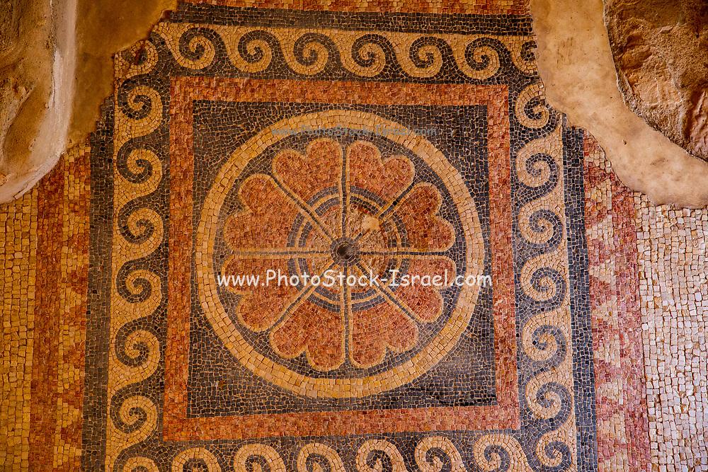 Remains of the Mosaic floor in a ritual bath (Mikveh) Masada national park, Israel