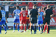 Players shake hands at full time during the EFL Sky Bet League 1 match between Accrington Stanley and Blackpool at the Fraser Eagle Stadium, Accrington, England on 21 September 2019.