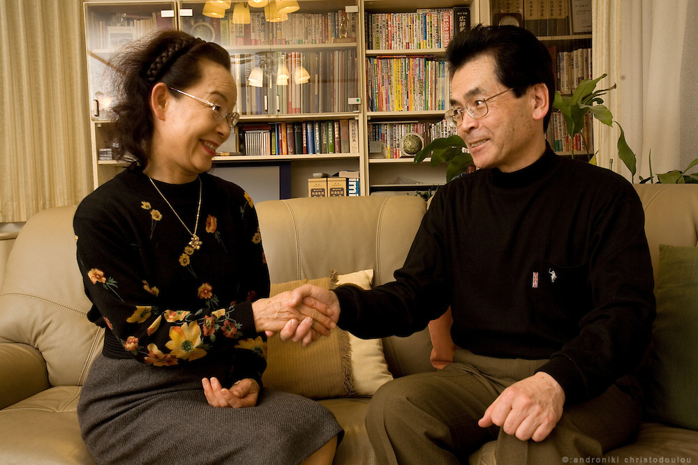Hayashi Yoshitake (65) - reformed husband -  with his wife Takeko Yoshitake (65) win their living-room. They are both middle school teachers, she teaches music. They have been married for 39 years.  Tokyo 9 Feb. 2007