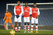 Arsenal defensive wall during the Barclays U21 Premier League match between Brighton U21 and Arsenal U21 at the American Express Community Stadium, Brighton and Hove, England on 1 December 2014.