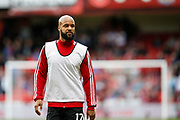 David McGoldrick of Sheffield United warming up for the Premier League match between Sheffield United and Crystal Palace at Bramall Lane, Sheffield, England on 18 August 2019.