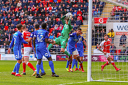 Conor O'Malley of Peterborough United jumps to make a save - Mandatory by-line: Ryan Crockett/JMP - 30/03/2018 - FOOTBALL - Aesseal New York Stadium - Rotherham, England - Rotherham United v Peterborough United - Sky Bet League One