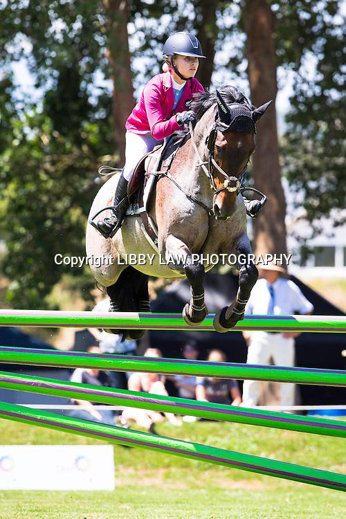 NZL-Briar Burnett-Grant (NGAHIWI TELEPHONIC) 1ST-Canterbury Equestrian Young Rider Series TAM5: 2015 NZL-IMAKE Showjumping Waitemata World Cup - Woodhill Sands (Saturday 10 January) CREDIT: Libby Law/www.photosport.co.nz