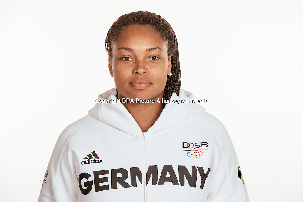 Shanice Craft poses at a photocall during the preparations for the Olympic Games in Rio at the Emmich Cambrai Barracks in Hanover, Germany, taken on 15/07/16 | usage worldwide