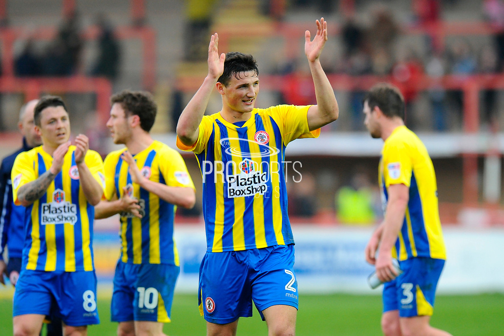 Goalscorer Matty Pearson (2) of Accrington Stanley applauds the travelling fans at full time after Accrington's 2-0 win during the EFL Sky Bet League 2 match between Exeter City and Accrington Stanley at St James' Park, Exeter, England on 11 March 2017. Photo by Graham Hunt.