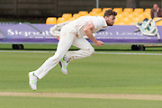 Richard Gleeson bowling during the Specsavers County Champ Div 2 match between Leicestershire County Cricket Club and Lancashire County Cricket Club at the Fischer County Ground, Grace Road, Leicester, United Kingdom on 26 September 2019.
